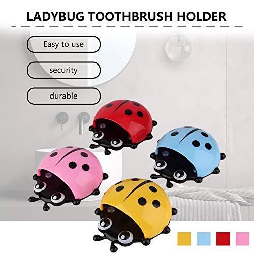 Hot Fashion Cup Bathroom Toothbrush Stuff Ladybug Wall Suction Holder Organizer New