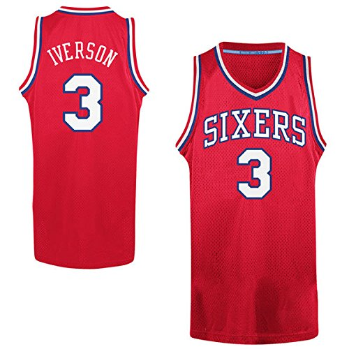 Men's Allen Iverson #3 Basketball Jersey Mens Basketball Jersey - Red