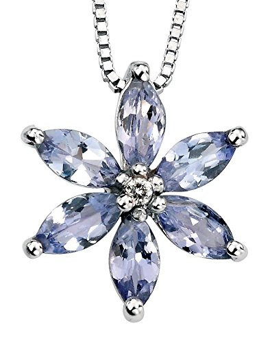 - My-jewellery 9ct Gold with Tanzanite and Diamond Flower Necklace 20