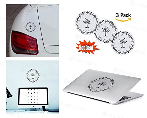 [PACK of 3 white tree of gondor Sticker Decal for Macbook, Laptop ,Car Window, Laptop, Motorcycle, Walls, Mirror and More.] (Seven Dwarfs Costume Ideas)