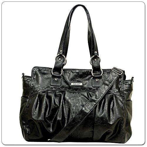 Vanchi Zepplin - Bolsa para pañales (piel sintética), color negro