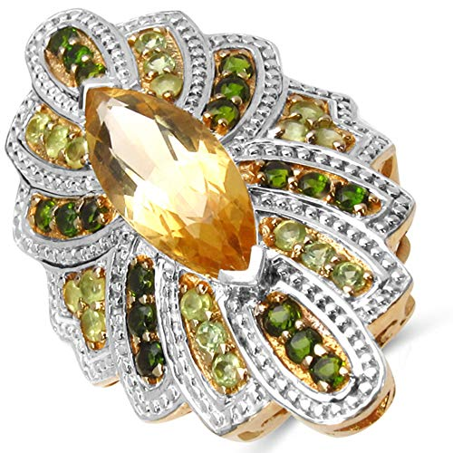 - Bonyak Jewelry Genuine Marquise Citrine, Chrome Diopside and Peridot Ring in Sterling Silver - Size 7.00