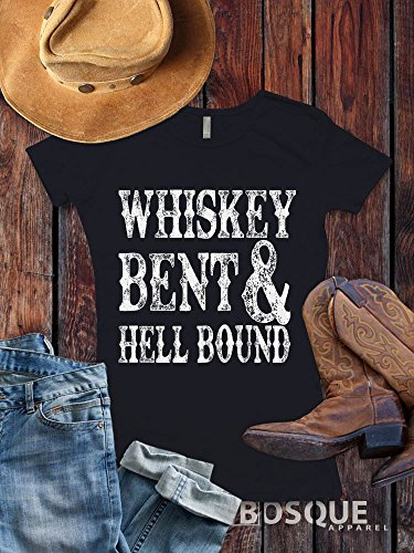 Whiskey Bent and Hell bound Style T-Shirt Distressed Country Southern Style Tee - Ink Printed