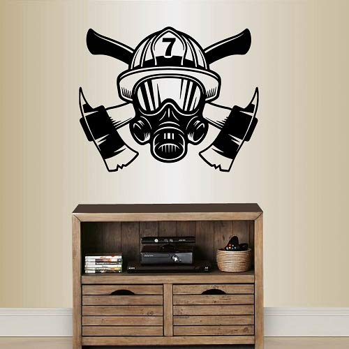 - Wall Vinyl Decal Home Decor Art Sticker Firefighter Firefighting Rescue Helmet Mask Fireman Nursery Bedroom Room Removable Stylish Mural Unique Design 2298