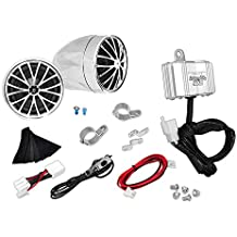 Pyle 400 Watt Weatherproof Motorcycle Speaker and Amplifier System w/ Two 2.25 Inch Waterproof Speakers, AUX IN- Handlebar Mount ATV Mini Stereo Audio Receiver Kit Set - Also for Marine Boat - PLMCA30