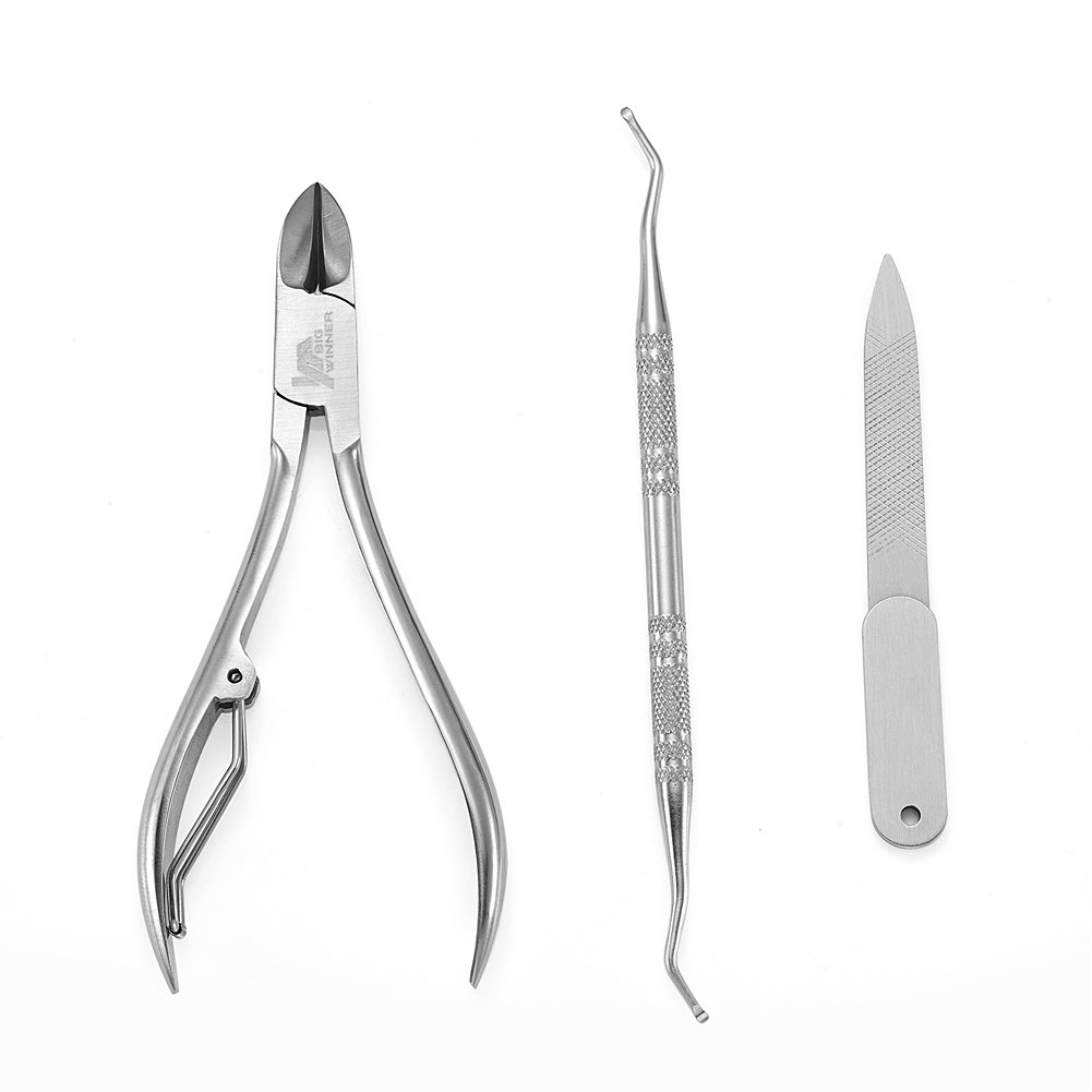BIGWINNER Nail Clippers, EZ Comfort Grip Nail Clipper, Sharp Stainless Steel Blade ToenailClippers Set of 2 (Small and Large)