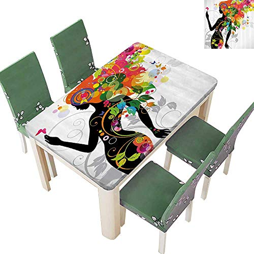 Printsonne Polyester Tablecloth Madame Butterfly Modern Versi with Spring Spiral Circles Leaf Botany Girl Easy Care Spillproof 54 x 72 Inch (Madama Butterfly Blu Ray)