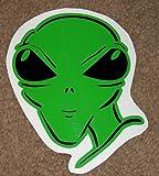 """Green Alien - Head Vinyl Bumper Sticker Decals! 2 Color HQ 6 x 4.5""""!"""