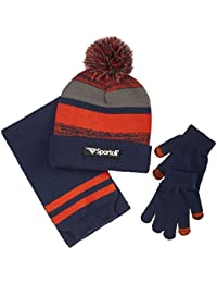 Men's and Boys' Kids 3-Piece Striped Knit Cold Weather Accessory Set Warm Fleece Lined Pull On Hat Scarf and Gloves