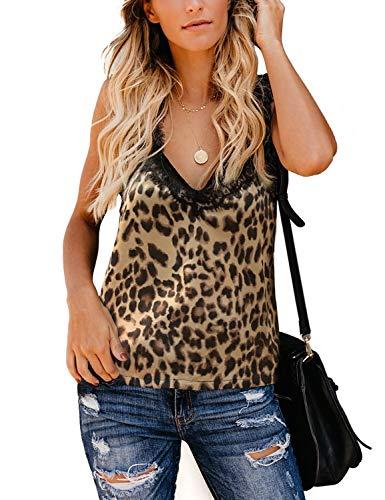 BMJL Women's Lace Cami Leopard Print Basic Tops Vest V Neck Sleeveless Tank Top(L,Leopard Print) (Print Leopard Camisole)