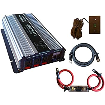 VertaMax PURE SINE WAVE 1500 Watt (3000W Surge) 12V Power Inverter DC to AC Power (Cables + Remote Control Switch + ANL Fuse) -- Solar, RV