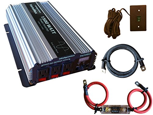VertaMax Pure SINE Wave 1500 Watt (3000W Surge) 12V Power Inverter DC to AC Power (Cables + Remote Control Switch + ANL Fuse) - Solar, RV (1500 Watt Pure Sine Wave Power Inverter)