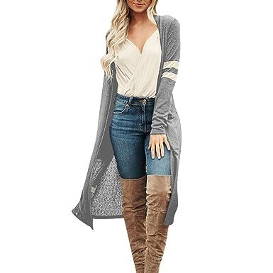Manches Grande Couleur Casual Taille Cardigan Chic Mode Longue Tricot Imprimée Lâche Blouse Automne de Femme Simple Hiver Rayé Unie LUBITY Veste Longues q0EwgXgc