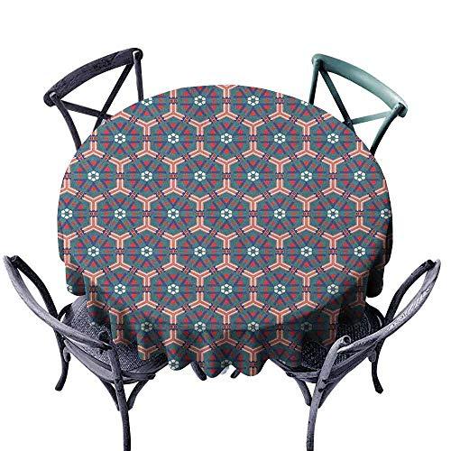 (ScottDecor Printed Round Tablecloth Tassel Tablecloth Traditional,Moroccan Mosaic Tiles Hexagonal Ornamental Victorian Ceramic Style Baroque, Multicolor Diameter 36