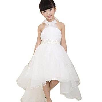 Flower Girl Princess Party Dress Kids Backless Pageant Wedding Bridesmaid Tutu  Dresses (Age 7 3037f7f33a0c