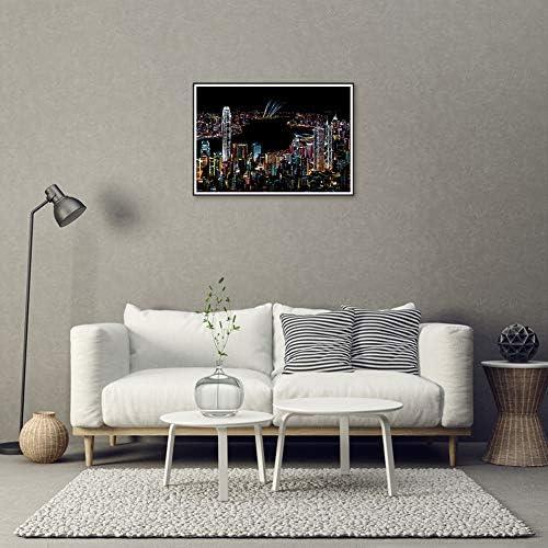 Wanl 40.5x28.5cm スクラッチアート スクラッチ塗装 はがき 削るだけで美しいアート 塗り絵 ペーパーアート(杭州西湖)