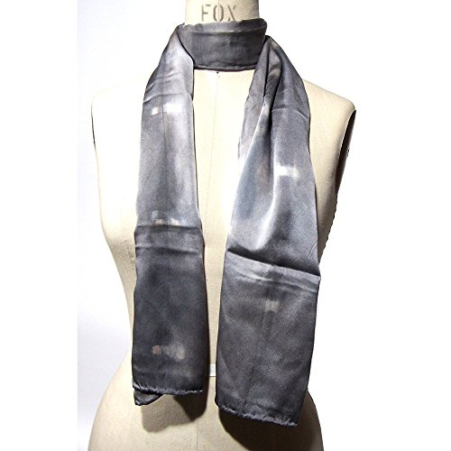 FREE SHIPPING Dom US, READY TO SHIP, Grey Scarf, Natural Dyed Silk, Dot Motif - Handmade in California
