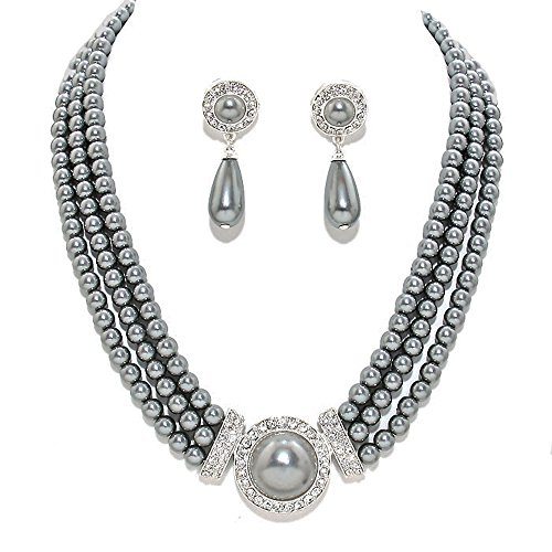 Fashion 21 Women's 3 Rows Rhinestone Trimmed Simulated Pearl Statement Necklace and Earrings Set -
