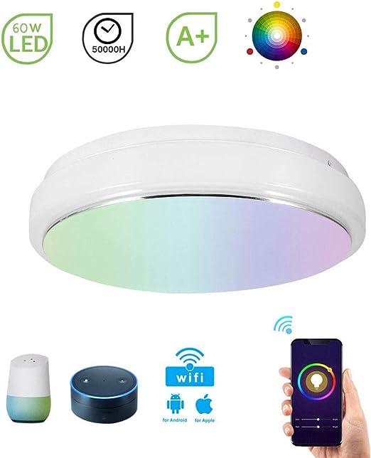 SXFYHXY LED de luz de Techo Inteligente WiFi Dimmable 60W con ...