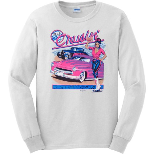 MENS LONG-SLEEVE T-SHIRT : SPORTS GREY - MEDIUM - Still Cruising - Hot Rod Classic Cars
