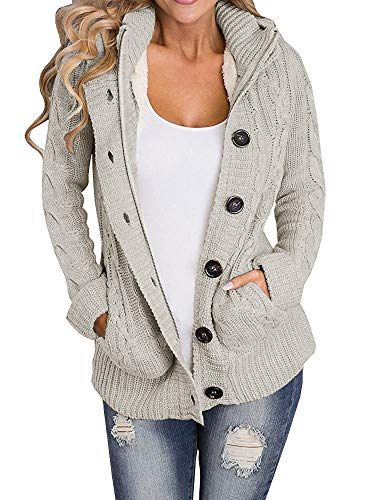 - Yacooh Lined Hooded Womens Cardigan Sweaters Warm Jacket Fleece Cable Knit Open Front Hooded Button Down Sweater Coat Khaki