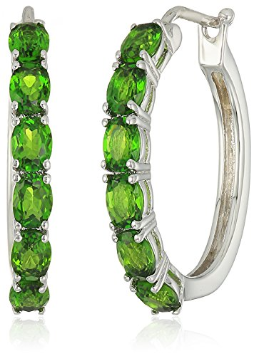 Sterling Silver Chrome Diopside Oval Hoop Earrings, 3/4""