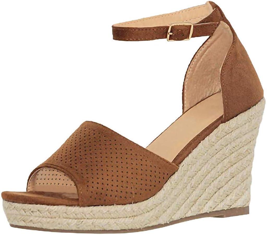 DOLDOA Sandales Compensees Femme Noir Chaussures Compensées
