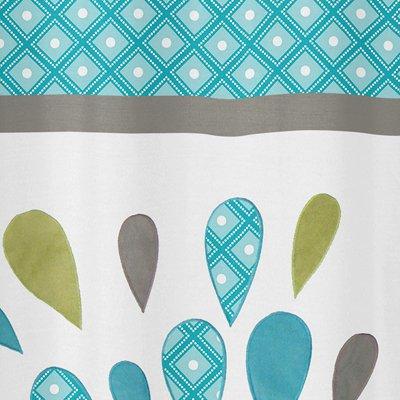 Sweet Jojo Designs Turquoise, White and Gray Mod Elephant Kids Bathroom Fabric Bath Shower Curtain
