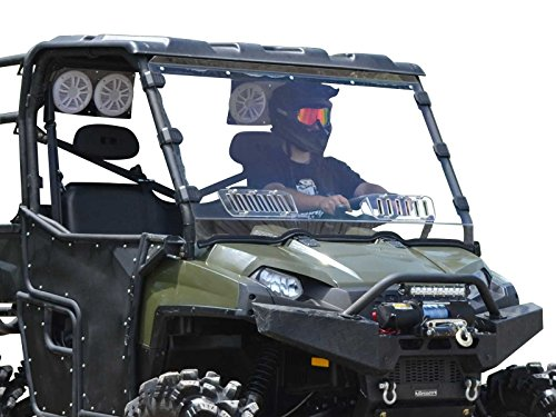 (SuperATV Heavy Duty Scratch Resistant Vented Full Windshield for Polaris Ranger Fullsize 570 / XP 800 / Crew 800/800 6x6 / 900 Diesel (See Fitment For Years) - Hard Coated for Long Life!)