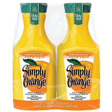 Fresh Squeezed Orange Juice - Simply Orange, Pulp Free (59 fl. oz. carafe, 2 pk.)