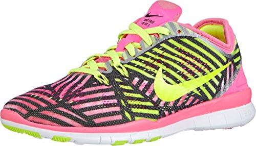 Nike Free 5.0 Tr Adattarsi 5 Prt (pow Colore Rosa / Volt-nero) Calzature Donna Ci 9.5 In Esecuzione