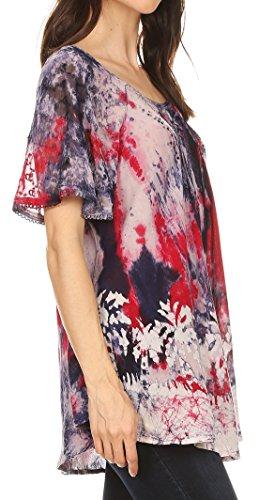 Marble Sakkas Chemisier Celia Batik Top manches et broderie Rouge avec courtes crochet 55SarRx6qw