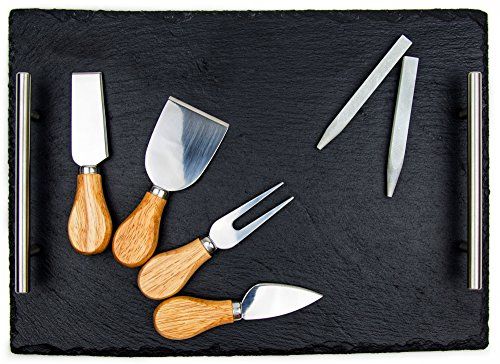Slate Cheese Board Set | Deluxe Cheese Serving Tray With Stainless Steel Handles + 4 Cheese Knives + 2 Soapstone Chalk | Great for Home & Restaurant Cheese Tapas & Appetizers Serving