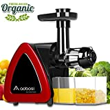 Aobosi Slow Masticating Juicer Extractor Compact Cold Press Juicer Machine with Portable Handle/Quiet Motor/Reverse Function/Juice Jug and Clean Brush for High Nutrient Fruit & Vegetable Juice (RED)