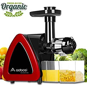 Aobosi Slow Masticating juicer Extractor, Cold Press Juicer Machine, Quiet Motor, Reverse Function, High Nutrient Fruit and Vegetable Juice with Juice Jug & Brush for Cleaning (Upgraded Red)