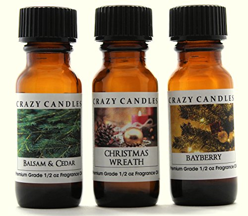 Crazy Candles 3 Bottles Set 1 Balsam & Cedar, 1 Christmas Wreath, 1 Bayberry 1/2 Fl Oz Each (15ml) Premium Grade Scented Fragrance Oils - Herbal Spruce Bath Juniper