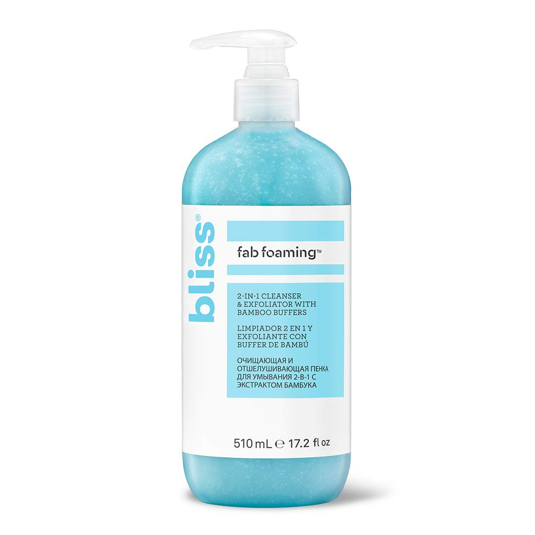 Bliss Fab Foaming 2-In-1 Cleanser & Exfoliator with Bamboo Buffers | Oil-Free Gel | Paraben Free, Cruelty Free | 17.2 fl oz