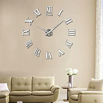 Vangold large 3d diy wall clock roman numerals clock frameless mirror surface wall sticker home décor for living room bedroom 2 year warranty