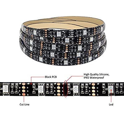 Abtong Battery Powered Led Strip Lights with Remote,Flexible Waterproof LED Light Strip,RGB SMD 5050 LED Ribbon Light(24keys Remote Control,16 different colors)