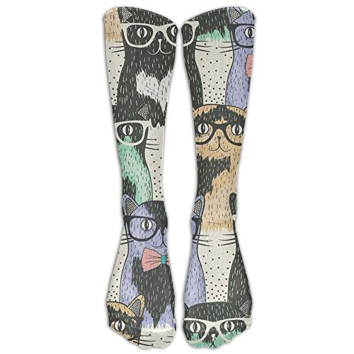 Nerdy Cats Compression Socks Foot Long Stockings Anti Fatigue Varicose Veins Socks For Men Women Supports Sport Running Cycling Football Slim Leg Travel Medical (Nerdy Halloween Jokes)