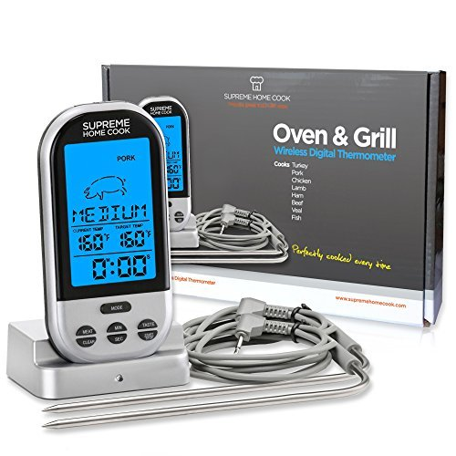 - Supreme Home Cook Wireless Oven and Grill Digital Long Range Meat Thermometer with Timer