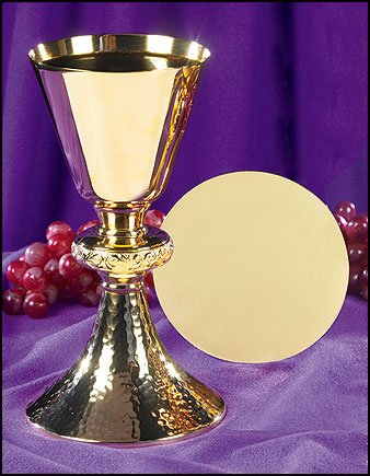 Gold Gild Catholic Christian Ornate Node Chalice Goblet Cup Hammered Base & Paten Church by Faithful Gifts