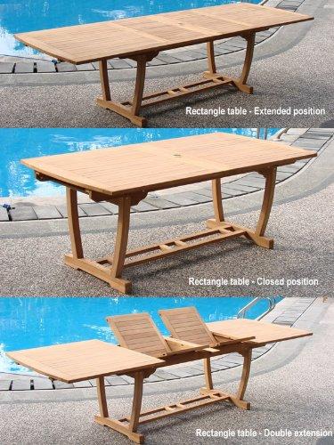 (WholesaleTeakFurniture Grade-A Teak Wood Extra Large Double Extension 117