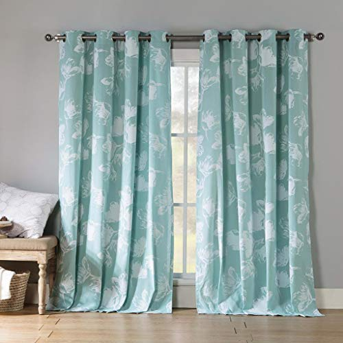 Kensie - Aster Floral Cotton Blend Grommet Top Window Curtains for Living Room & Bedroom - Assorted Colors - Set of 2 Panels (54 X 84 Inch - Teal)