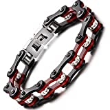 BEMI Cool Style Gothic 10MM Wide Bike Motorcycle Chain Polished Stainless Steel Link Bracelet for Men Dark Red