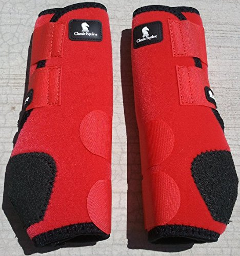 CLASSIC Equine Legacy SMB Boots Front Colors (Red, Medium)