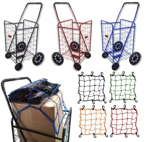 Extra Large Folding Shopping Cart Basket 4 Wheel Jumbo WITH FREE LINER AND CARGO NET by SCF (2pack-Black with Black liner)