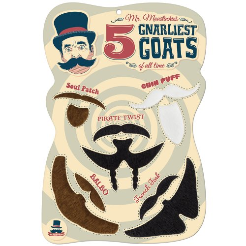 Mr. Moustachio Five Gnarliest Goats of All Time, Fake Goatee Costume Party Assortment -