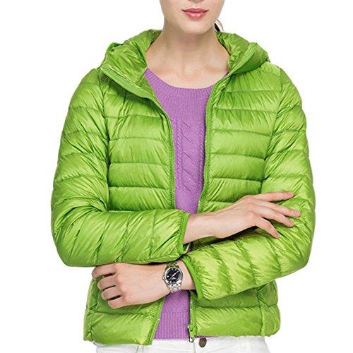 (ミラボルサ) MILA BORSA ダウンジャケット レディース 軽量 ウルトラダウン コート 山ガール 便利な収納袋付き (L, 1 ライトグリーン-フード付)