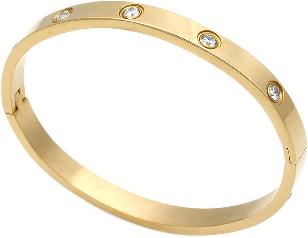 Brazalete chapado en oro de lujo de acero inoxidable con circonita estilo simple para mujeres y hombres